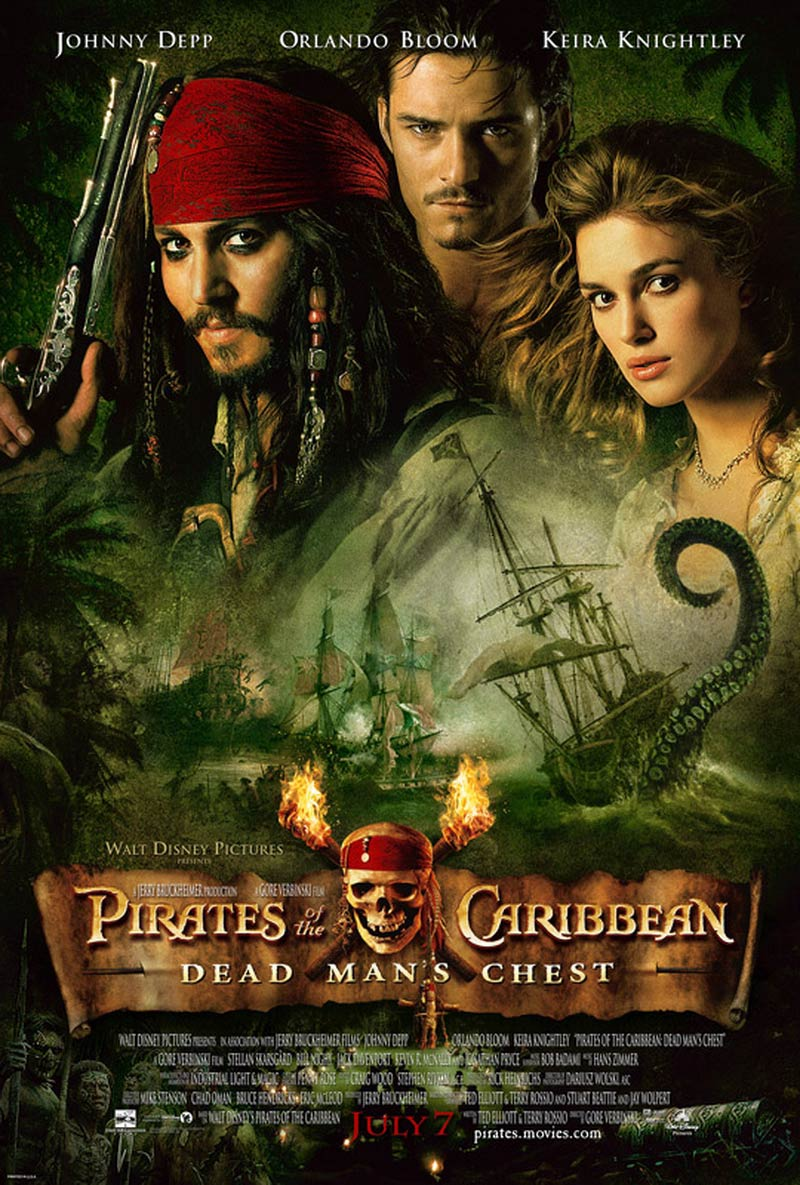 Pirates of the Caribbean: Dead Man's Chest (2006) is an American adventure fantasy comedy film inspired by the Pirates of the Caribbean: The Curse of the Black Pearl and the Pirates of the Caribbean series' second installment.